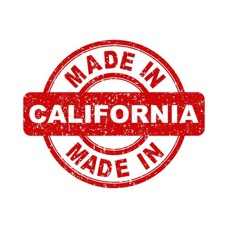 Feito no selo vermelho de Califórnia Ilustração do vetor no backg branco ilustração do vetor