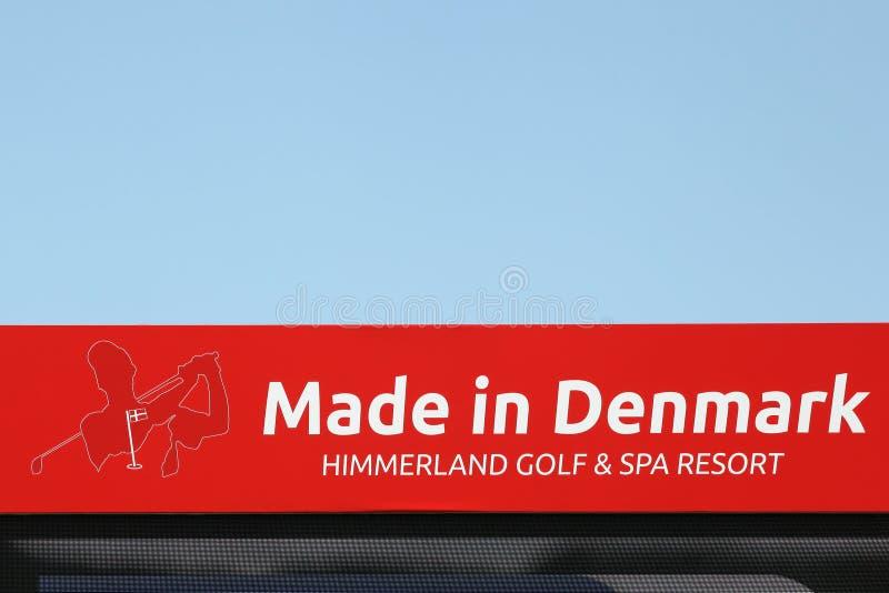 Feito no sinal de Dinamarca em um painel imagem de stock