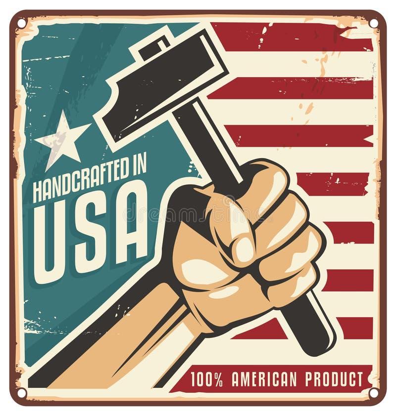 Feito no sinal retro do metal dos EUA ilustração royalty free