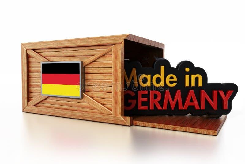 Feito no texto de Alemanha dentro da caixa da carga com bandeira alemão ilustração 3D ilustração royalty free