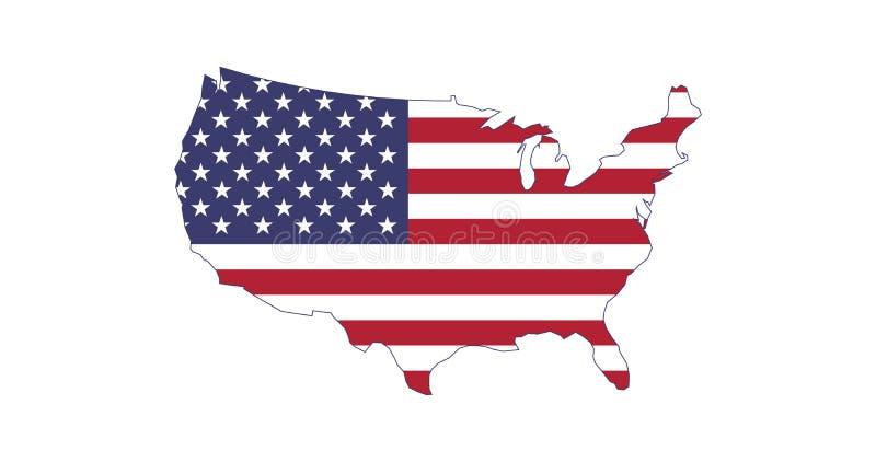 Feito nos EUA, silhueta do mapa da bandeira dos E.U. Ilustra??o do vetor isolada no fundo branco ilustração royalty free