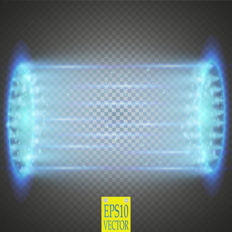Feixe luminoso do UFO isolado no fundo do transparnt ilustração do vetor