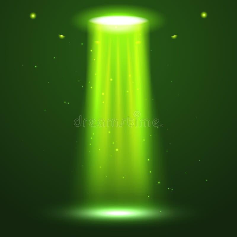 Feixe luminoso do UFO Luz brilhante futurista do transporte estrangeiro na obscuridade Projeto do efeito do fulgor da nave espaci ilustração do vetor