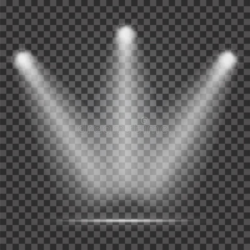 Feixe luminoso no fundo transparente Feixes luminosos do projetor realístico para a fase ilustração stock