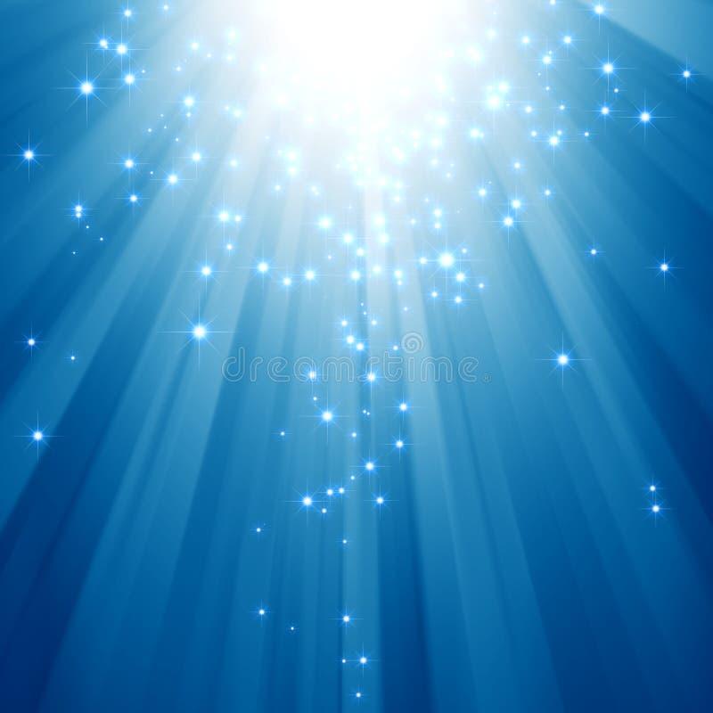 Feixes luminosos azuis com estrelas do glitter ilustração royalty free