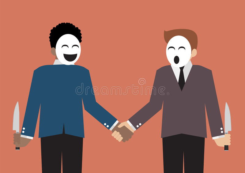 Fejka affärsmän som döljer kniven för svek av affärspartn stock illustrationer