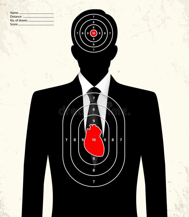 Fejka affärsmannen - skjutbanamål royaltyfri illustrationer