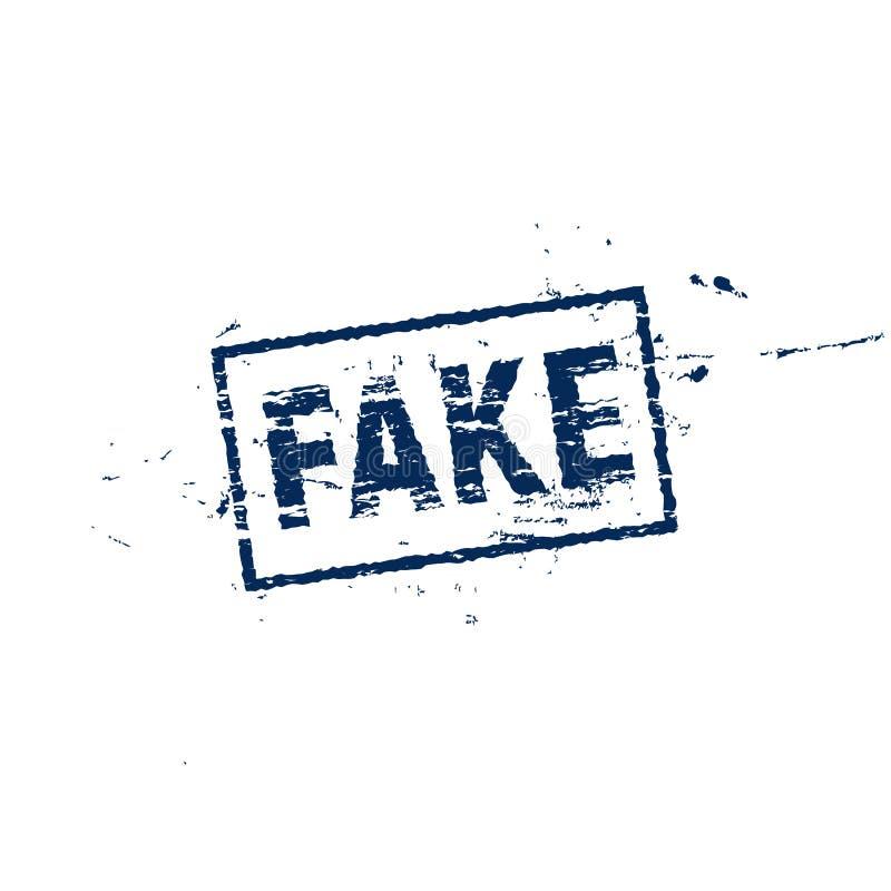 Fejka den fyrkantiga etiketten, lantgårdstilstämpeln, vektorillustration på vit bakgrund Fejka det blåa tunt smörlagersymbolet fö royaltyfri illustrationer