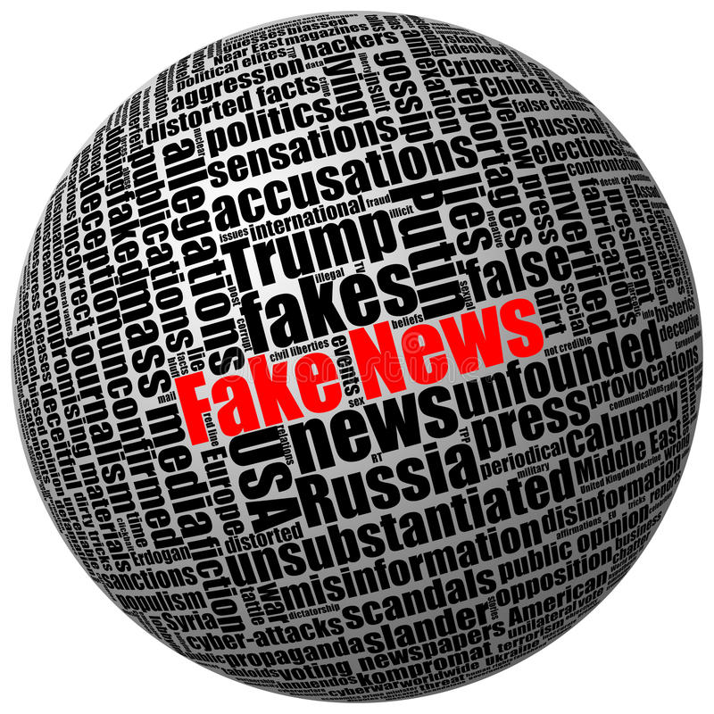 Fejka nyheterna och andra trumped publikationer i massmedia royaltyfri illustrationer