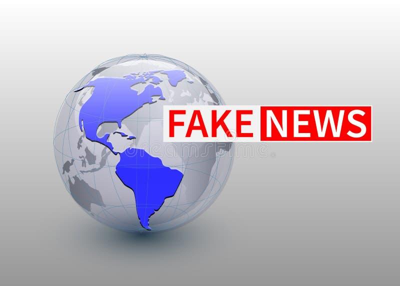 Fejka nyheterna, världsnyheterbackgorund med planeten, TVnyheternadesign vektor stock illustrationer
