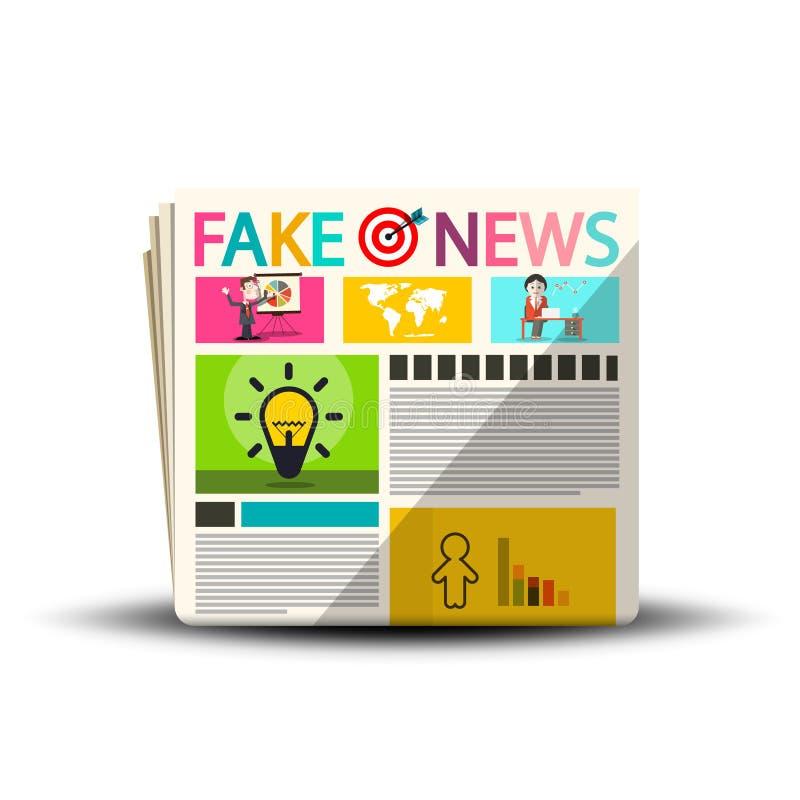 Fejka nyheternatidningar Tidningstidskriftdesign royaltyfri illustrationer
