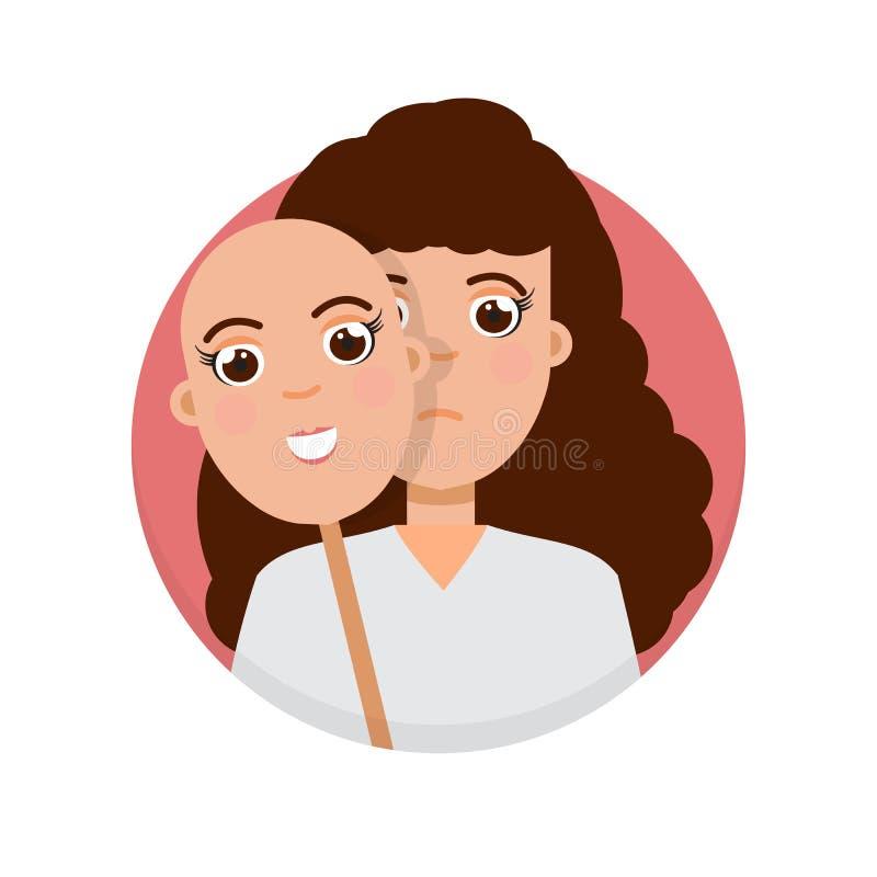 Fejka sinnesrörelsebegreppet Skinn under verklig ledsen framsida för leendemaskering stock illustrationer