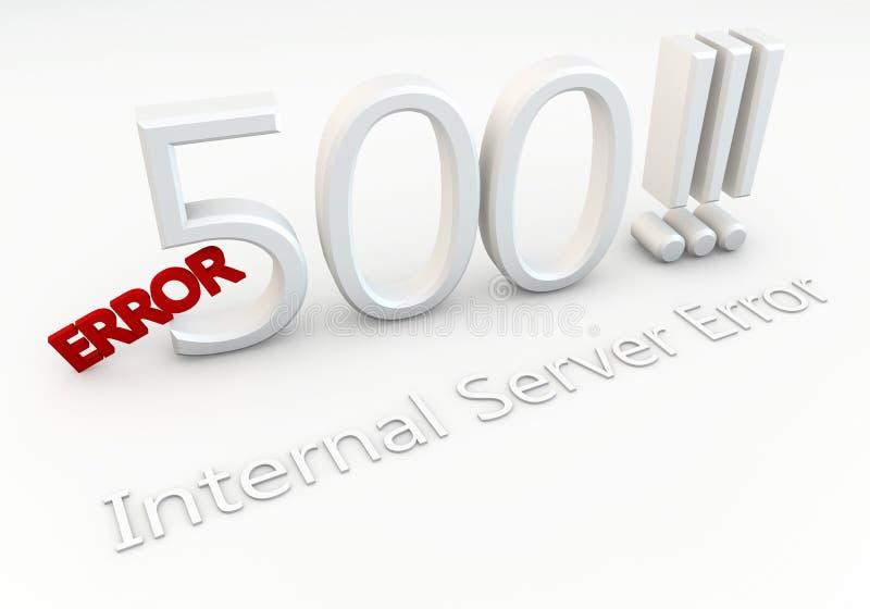 Fel 500!!! Inre serverfel stock illustrationer