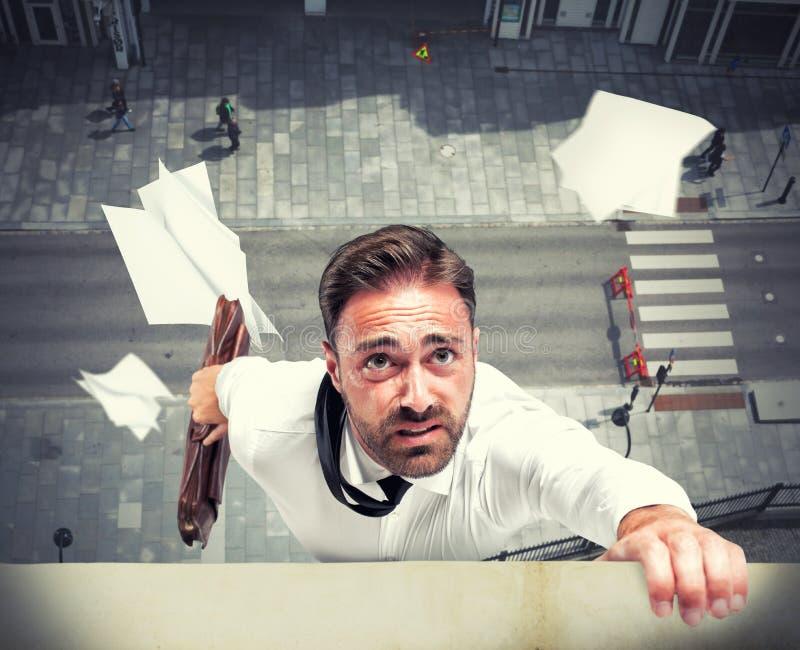 Fel av en kris för affärsman tack vare arkivfoton
