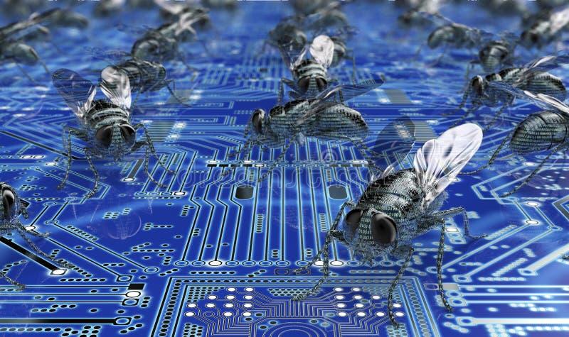 Fel för dator för Digital säkerhetsbegrepp i elektronisk miljö, vektor illustrationer