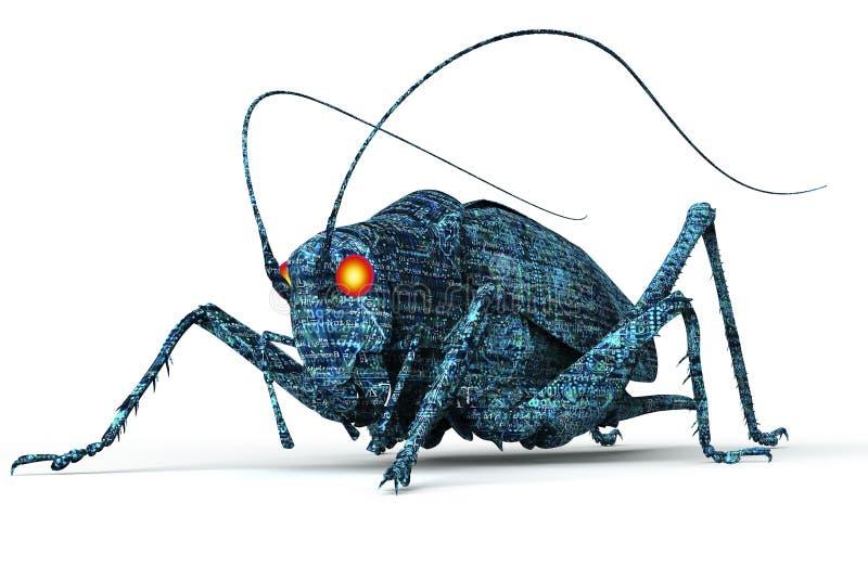 Fel för dator för Digital säkerhetsbegrepp som isoleras på vit, illust 3D stock illustrationer