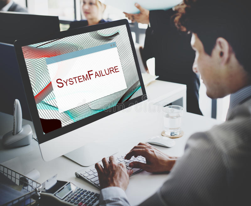 Fel stannat begrepp för systemDisconnectvarning arkivfoton