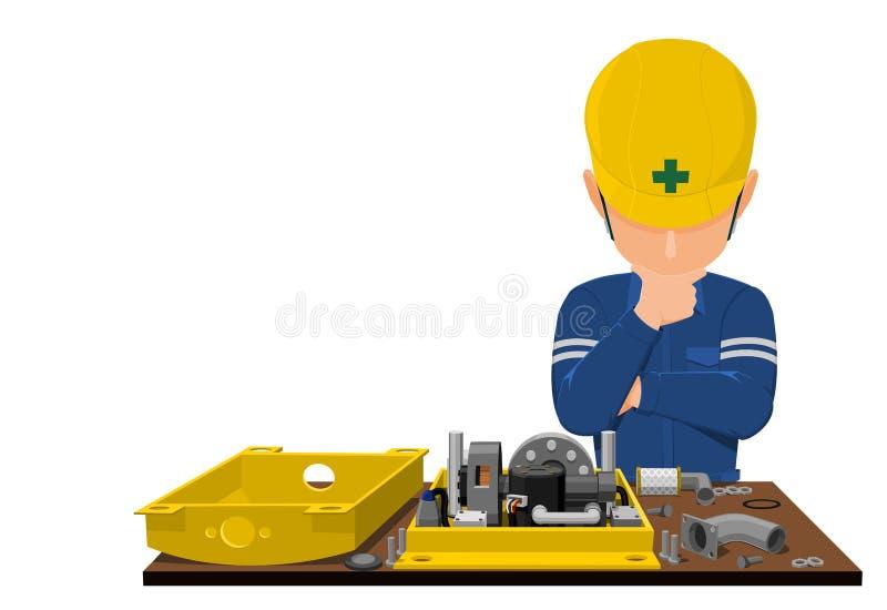 Felanalys av en arbetare vektor illustrationer
