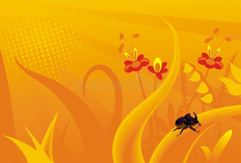 felblommor gräs orange noshörning royaltyfri illustrationer