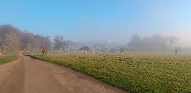 Felbriggzaal, Norfolk in de de wintermist vroege ochtend royalty-vrije stock fotografie