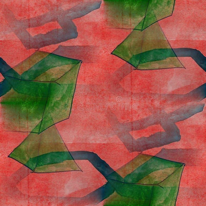 Feld das rote Bild, grüne, dunkelblaue Palette stock abbildung
