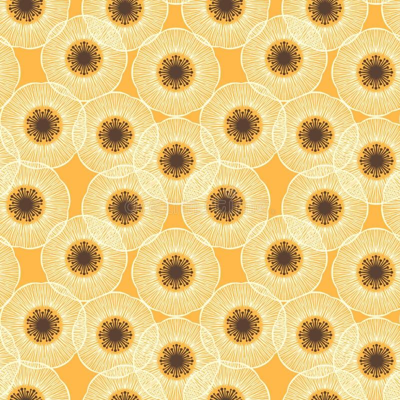 Feld der weißen Mohnblume. fünfziger Jahre Weinlese-Vektormuster. vektor abbildung