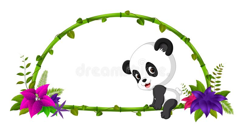 Feld des Bambusses und des Babypandas lizenzfreie abbildung