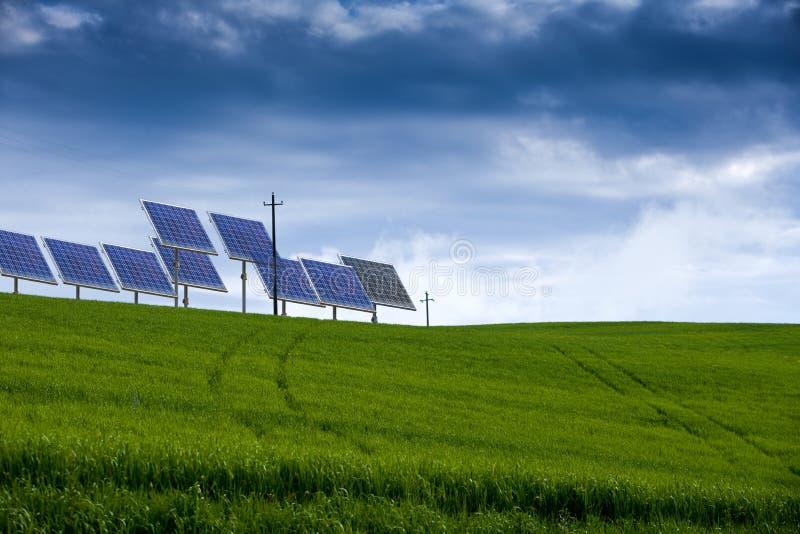 Feld des Grases und der Sonnenenergie stockfoto