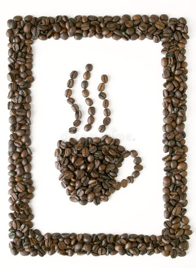 Feld des Kaffees mit Cupsymbol lizenzfreies stockfoto