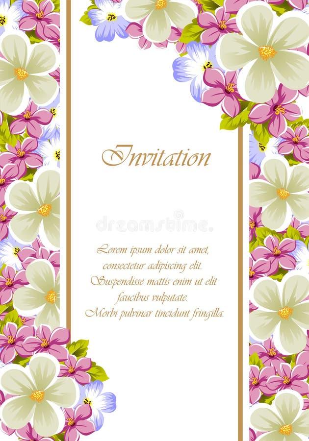 Feld einiger Blumen Für Design von Karten, Einladungen, für Geburtstag, Hochzeit, Partei, Feiertag, Feier, grüßend Valentinsgruß  lizenzfreie abbildung