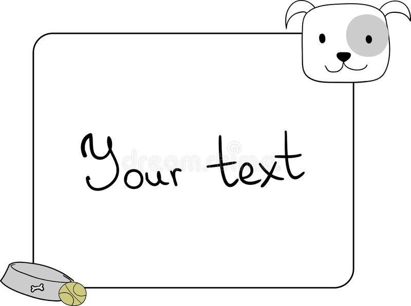 Feld, Gestaltungselement mit einem netten englischen Bulldoggenhund vektor abbildung