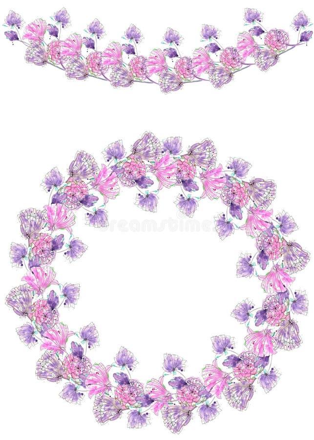 Feld Grenze, Girlande und Kranz von den purpurroten Blumen, die im Aquarell gemalt werden lizenzfreie abbildung