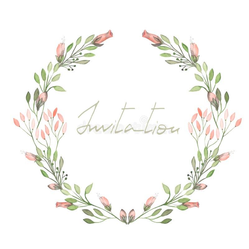 Feld Grenze, Kranz von zarten rosa Blumen und Niederlassungen mit den grünen Blättern, die im Aquarell auf einem weißen Hintergru lizenzfreie stockfotos