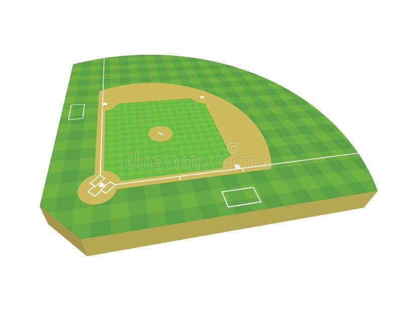 Feld-Illustration des Baseball-3D lizenzfreies stockfoto