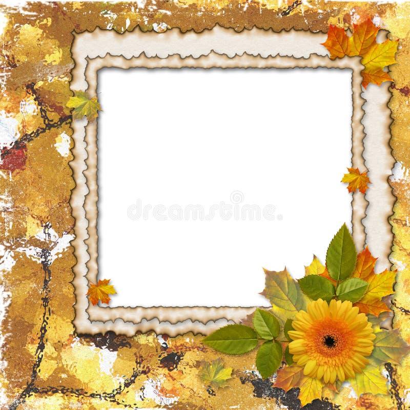 Feld mit Blume auf dem Herbsthintergrund stock abbildung