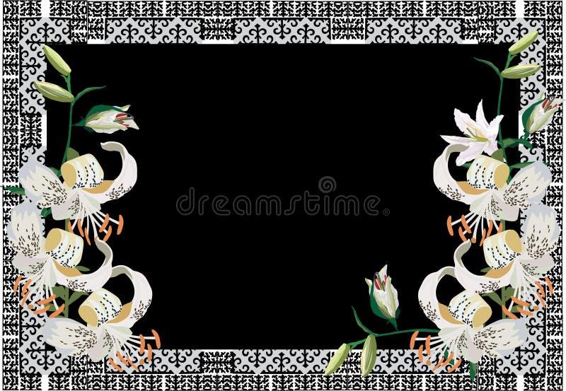 Feld mit Blumen der weißen Lilie stock abbildung