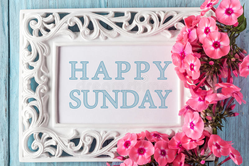 Feld mit Blumen und Text: Glücklicher Sonntag stockfotos