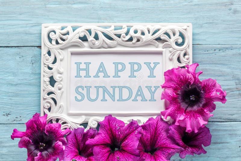 Feld mit Blumen und Text: Glücklicher Sonntag stockbilder