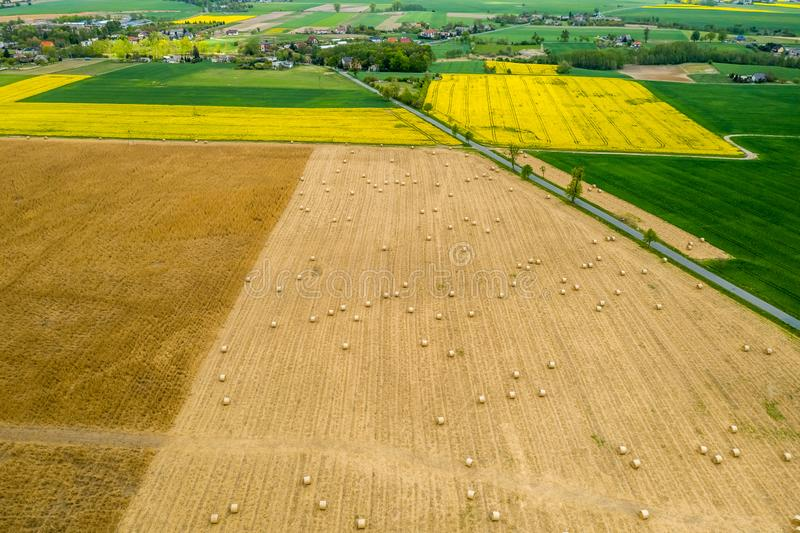Feld mit Heugarben von oben genanntem, Polen lizenzfreie stockfotografie