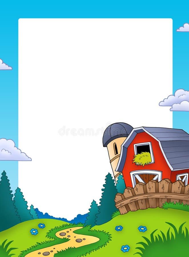 Feld mit Landschaft und Stall stock abbildung