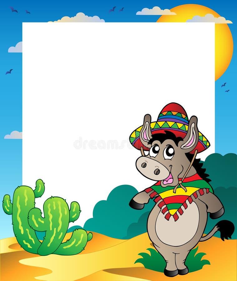 Feld mit mexikanischem Esel lizenzfreie abbildung