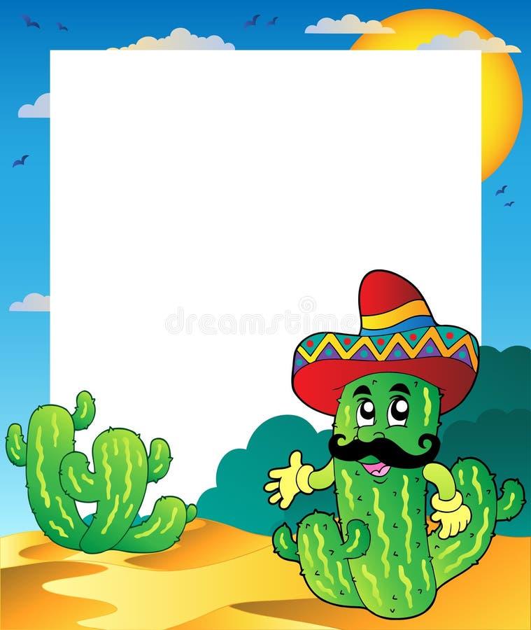 Feld mit mexikanischem Kaktus lizenzfreie abbildung