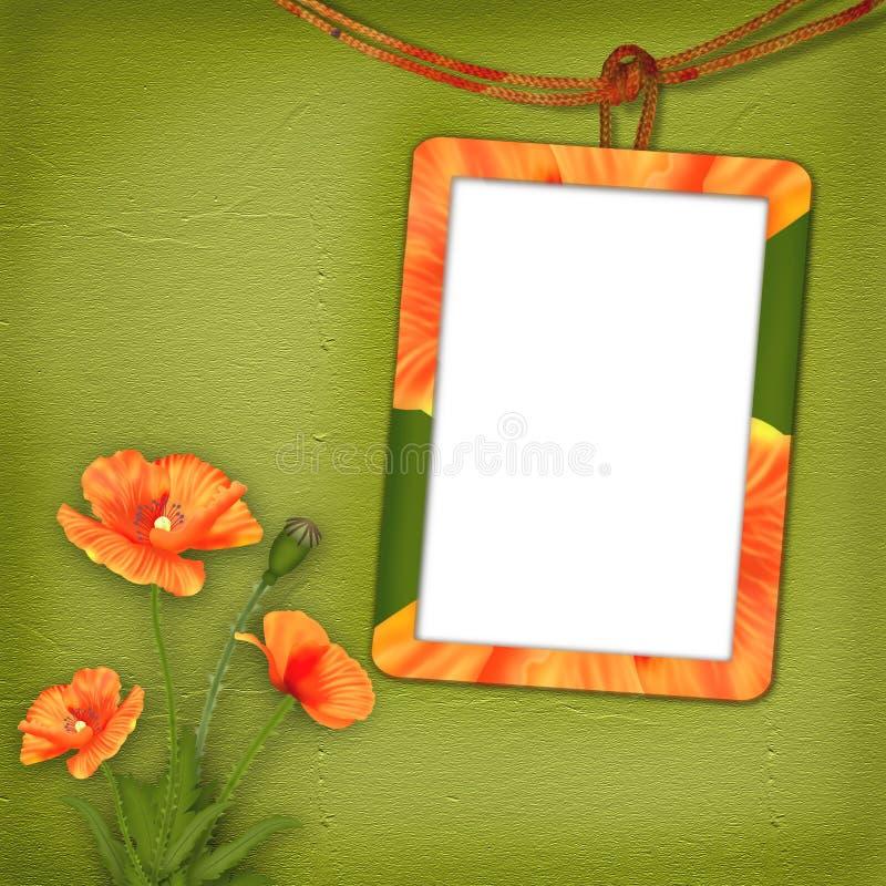 Feld mit Mohnblumen für Foto lizenzfreie abbildung