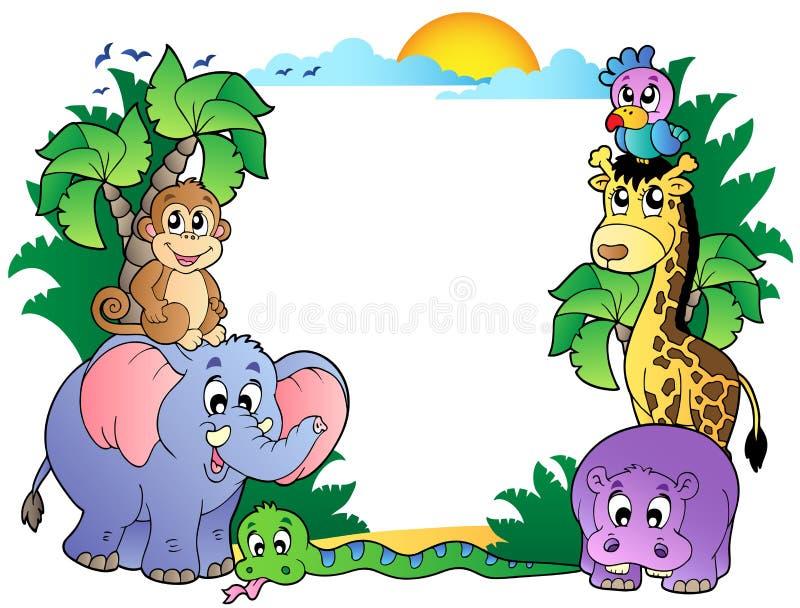 Feld mit netten afrikanischen Tieren vektor abbildung