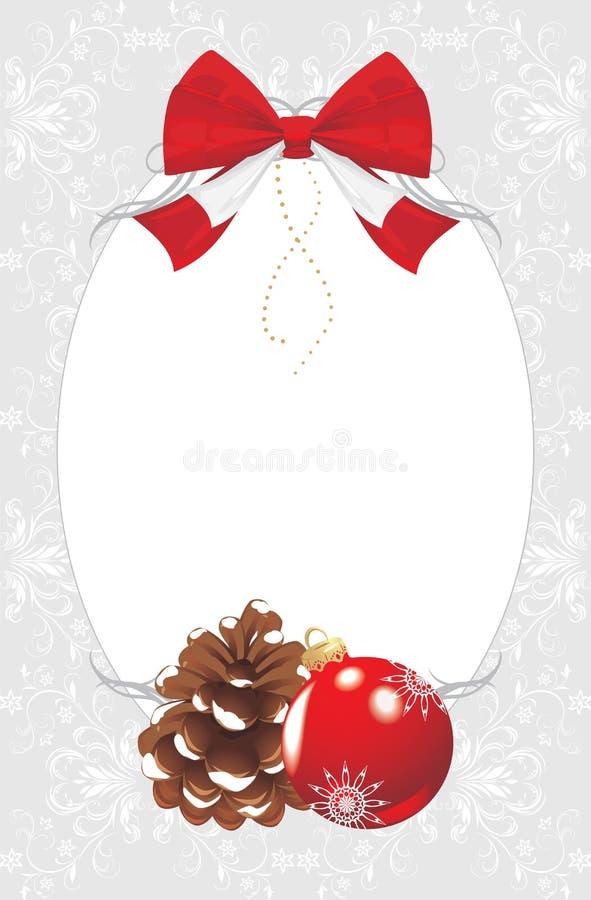 Feld mit pinecone und Weihnachtskugel lizenzfreie abbildung