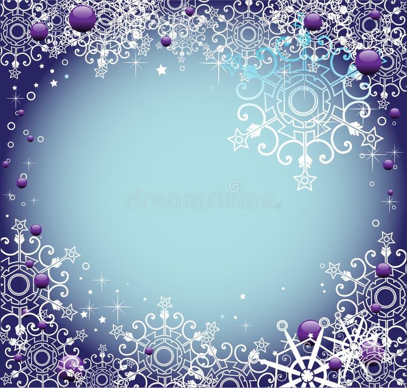 Feld mit Schneeflocken stock abbildung