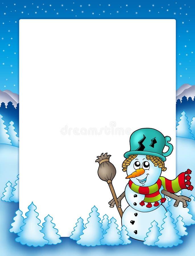 Feld mit Schneemann und Bäumen stock abbildung