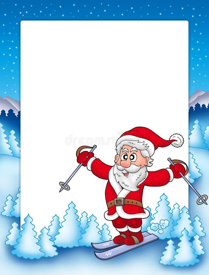 Feld mit Ski fahrendem Weihnachtsmann vektor abbildung