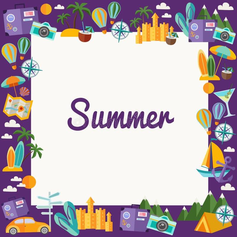 Feld mit Sommerelementen in der flachen Art lizenzfreie stockfotos