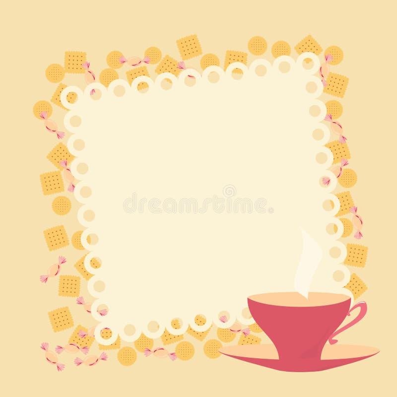 Feld mit Teetasse und Plätzchen lizenzfreies stockfoto